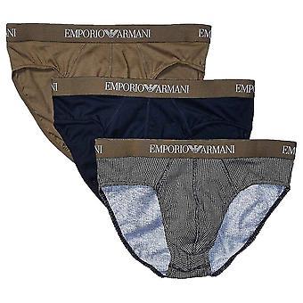 Emporio Armani gekleurd zuiver katoen logo 3-pack kort, kakigroen/print/Marine, klein