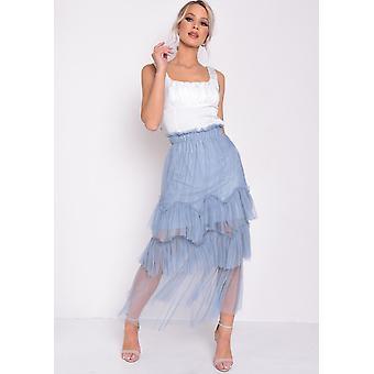 Layered Frill Trim Tylle MIDI kjol blå