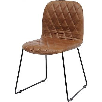 Libra Furniture Tan Leather Quilted Dining Chair With Black Metal Legs
