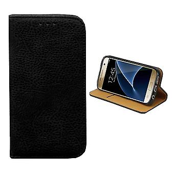 Bookcase PU leather Look for Samsung S6 Edge Plus Black