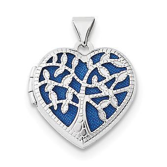 14k White Gold 18 mm corazón con medallón de árbol