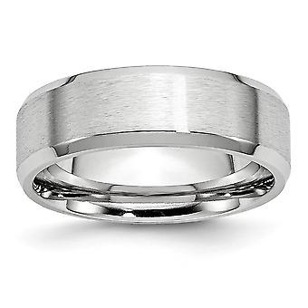 Cobalt Chromium Engravable Beveled Edge Polished and satin Satin Polish 7mm Band Ring Jewelry Gifts for Women - Ring Siz