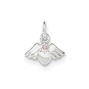 925 Sterling Silber poliert und Satin Herz mit Engel Flügel rosa Zirkonia Anhänger