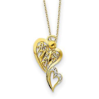 925 Sterling Zilver gepolijst Gift Boxed Spring Ring 14k Vergulde CZ Cubic Zirconia Gesimuleerde Diamond Religieuze Guardi
