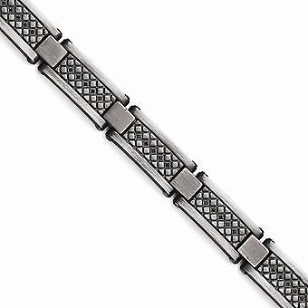 Stainless Steel Matte Antiqued 1/10ct.tw Black Diamond Bracelet - .10 dwt - 9 Inch