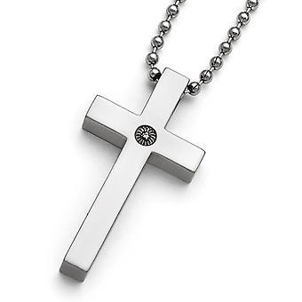 Titanium Polished 1/2pt. Diamond Cross Necklace - 22 Inch