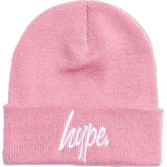 Hype Script Beanie Hat Pink 01