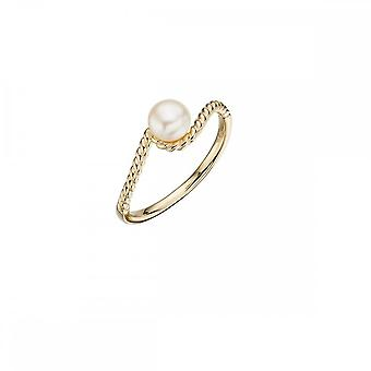 Elements Gold Yellow Gold And Cast Rope PearlRing GR529W