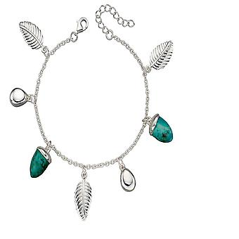 Elements Silver Sterling Silver Turquoise  Leaf Charm Bracelet B5226T