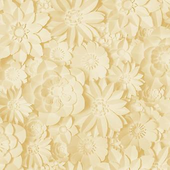 3D Effect Floral Wallpaper Flowers Yellow Mustard Washable Fine Decor Dimensions
