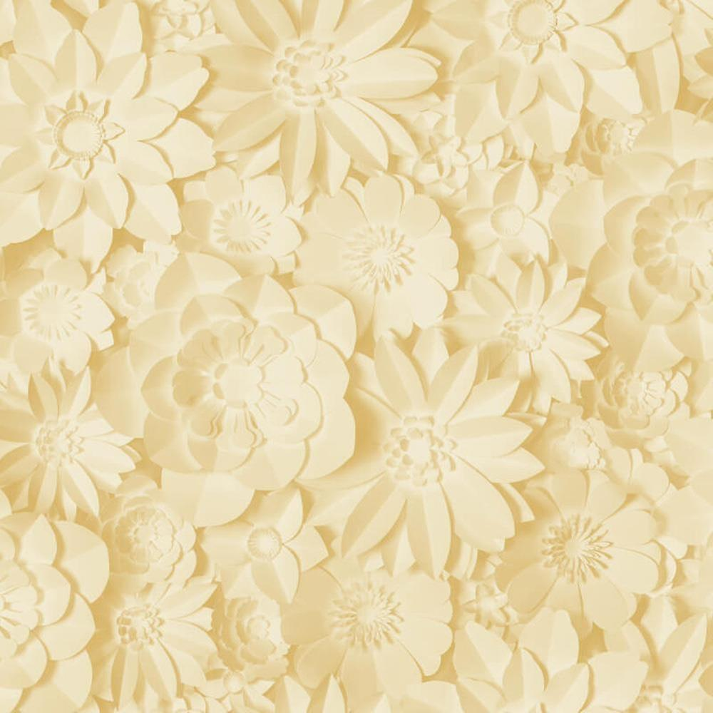 3d Effect Floral Wallpaper Flowers Yellow Mustard Washable Fine