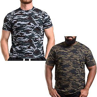 D555 Mens Gaston Big Tall King Size Short Sleeve Crew Neck Camo T-Shirt Tee Top