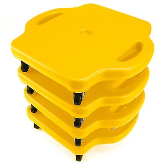 4pack 16in Gym Class Scooter Board w/Safety Handles - Yellow