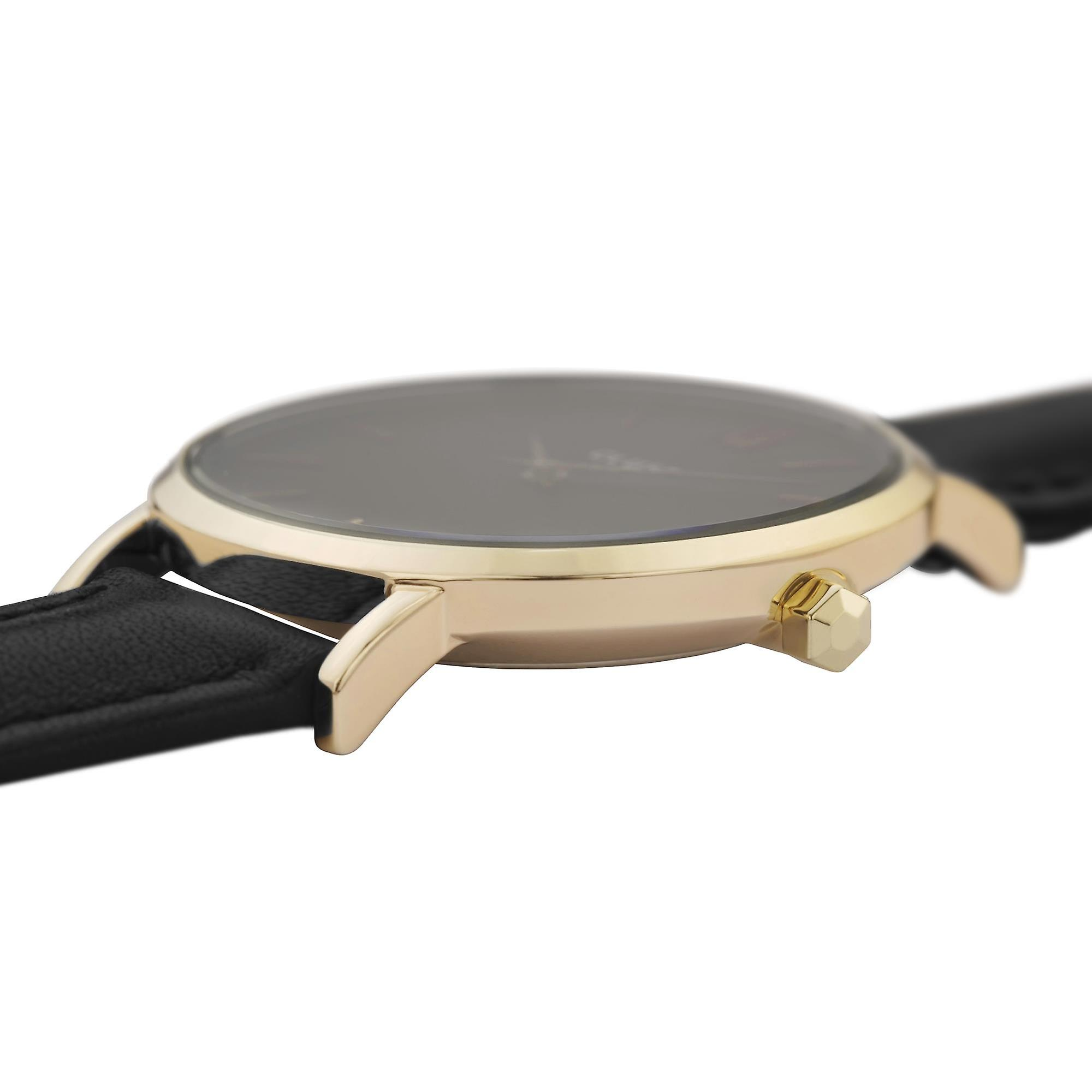 CLUSE Minuit Gold PVD Case Black Leather Strap Ladies Watch CW0101203019