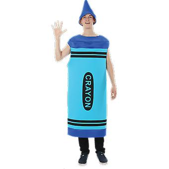 Mens Blue Crayon nieuwigheid hert nacht Fancy Dress kostuum