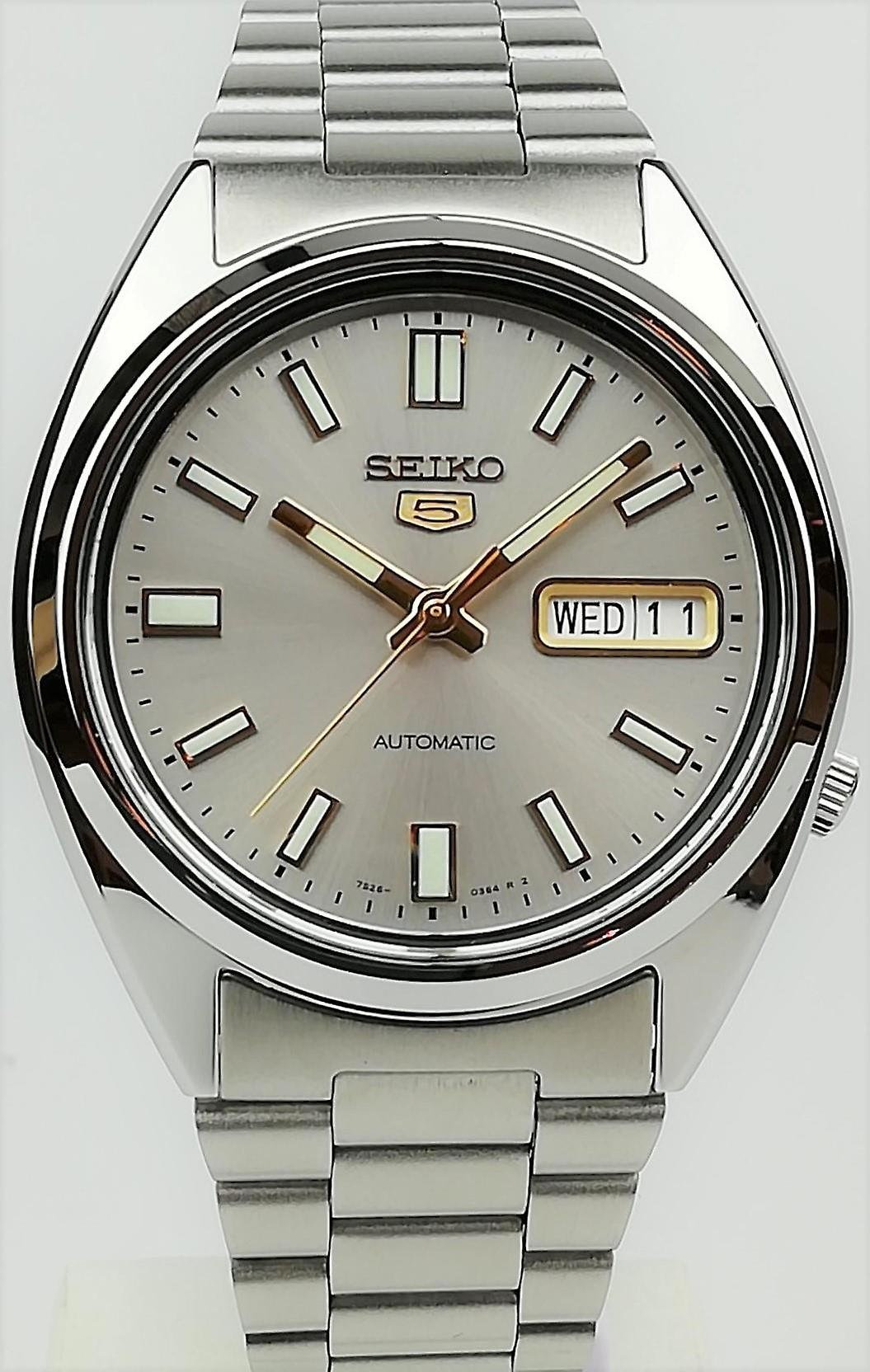 Seiko 5 Automatic Grey Dial Silver Stainless Steel Mens Watch