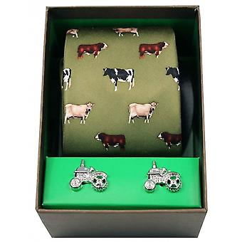 David Van Hagen Breed of Cows Tie and Cufflink Gift Sets - Green