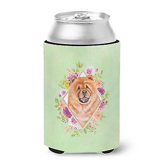 Carolines Treasures  CK4291CC Chow Chow #1 Green Flowers Can or Bottle Hugger