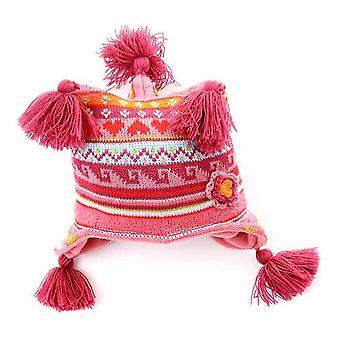 Bebê de malha Tri milho Beanie térmica de inverno quente chapéu 0-3 anos-de-rosa