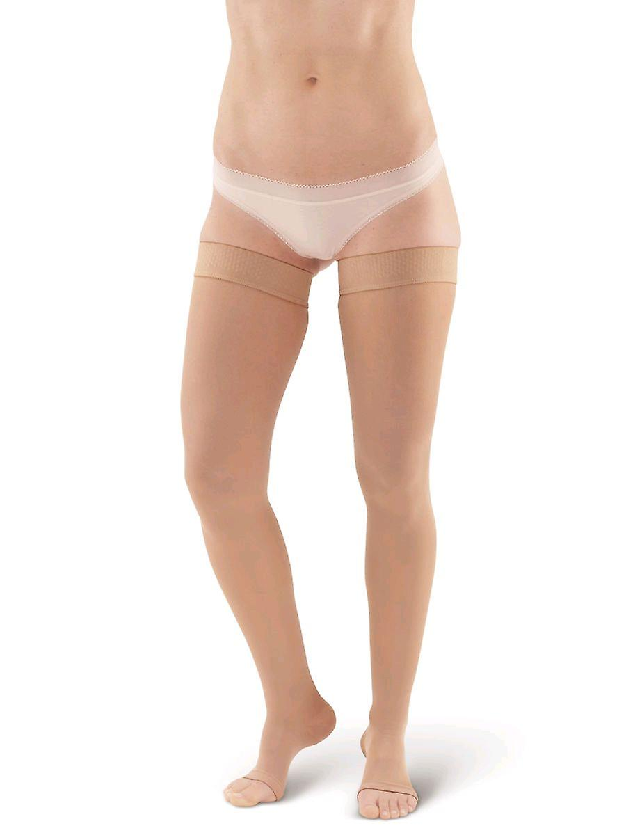 Pebble UK Microfibre Opaque Toeless Compression Thigh Highs [Style P265] Sand  S