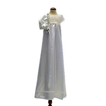Dopklänning Och Dophätta I Off White Satin Och Vit Rosett   Ma.ow.