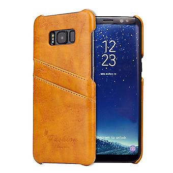 Pour Samsung S8 Plus Yellow Deluxe Leather Flip Wallet Phone Case, Shockproof Case