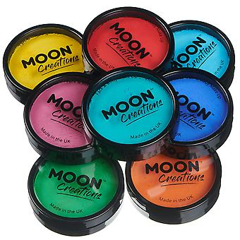 Moon Creations - Pro Face & Body Paint Cake Pots - Brights Colours Set (Bright Pink, Bright Red, Bright Orange, Bright Yellow, Bright Green, Turquoise, Aqua, Royal Blue)