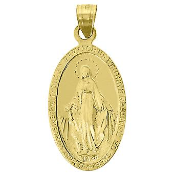 14k Yellow Gold Unisex Mary Pray For Us Oval Religious Height 31.5mm Pendant Charm - 3.6 Grams