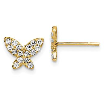 14k Madi K Butterfly Angel Wings CZ Cubic Zirconia Simulerade Diamond Post Örhängen Smycken Gåvor för kvinnor