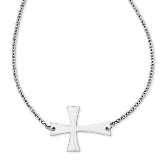 Edelstahl Fancy Hummer Verschluss poliert Seitwärts religiösen Glauben Kreuz Halskette 21 Zoll Schmuck Geschenke für Frauen