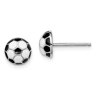 925 Sterling Silver Madi K Enameled Soccerball Post Earrings Jewelry Gifts for Women - 1.5 Grams