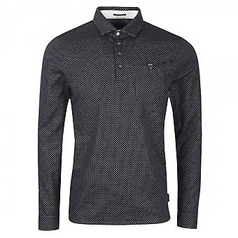 Ted Baker Outof LS Jacquard Polo Shirt Navy