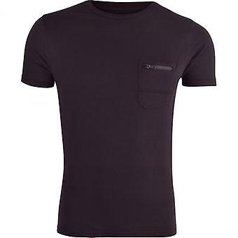 Brave Soul Men‰Ûªs Brave Soul Plain Short Sleeve T Shirt With Zip Pocket To Chest