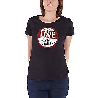 The Beatles T Shirt I Love The Beatles Official Womens New Purple skinny fit