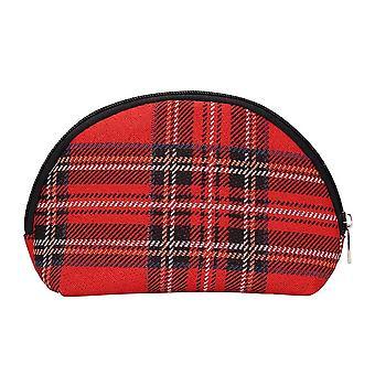 رويال ستيوارت الترتان حقيبة مستحضرات التجميل | حقيبة ماكياج النسيج الأحمر | كوزم-rstt
