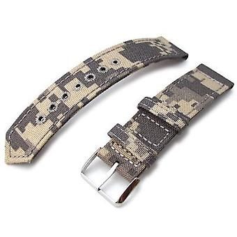 Λουράκι ρολογιού υφάσματος Strapcode 20mm, 21mm ή 22mm miltat ww2 2-κομμάτι μπεζ καμουφλάζ cordura 1000d ζώνη ρολογιών με τη στρογγυλή τρύπα lockstitch, γυαλισμένη