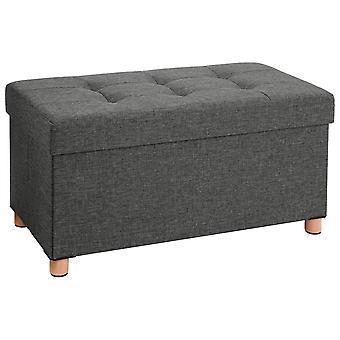Cuña de lino con espacio de almacenamiento y patas de madera-76 x 38 x 40 cm