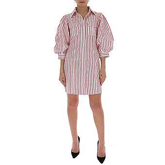 Ganni F4649459 Women's White/pink Cotton Dress