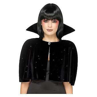 Dame sort Evil Queen Cape Halloween Fancy kjole tilbehør