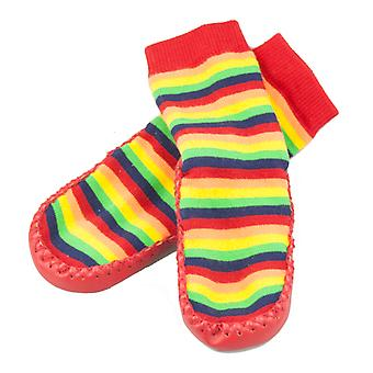 SKEANIE Leather and Cotton Moccasin Baby Socks Rainbow Stripes