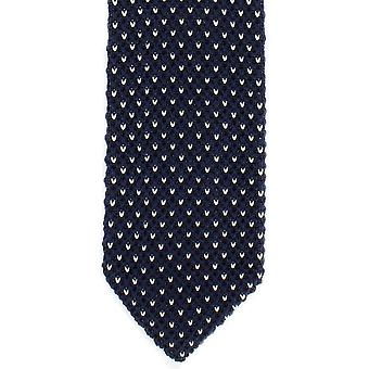 Michelsons of London Crows Foot Silk Knitted Tie - Navy/White