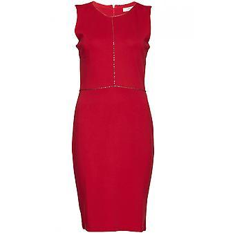 Fransa Red Fine Metallic Detailed Dress