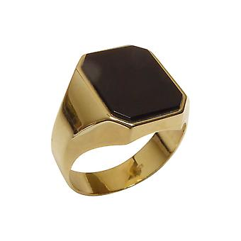 Gold cachet ring with layer stone