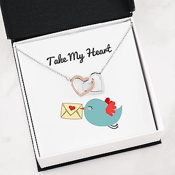 שרשרת לבבות משולבים | כרטיס הודעה-קח את ליבי