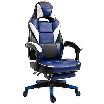 Vinsetto Cool & Stylish Gaming Chair Ergonomic w/ Thick Padding Footrest Neck & Back Pillow 5 Wheels Racing Swivel Height Adjustable Home Office Blue