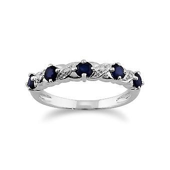Klassische Runde Saphir & Diamant halbe Ewigkeit Ring in 9ct Weißgold 117R0070019