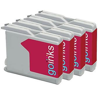 4 Cartuchos de tinta Magenta para substituir irmão LC970M & LC1000M Compatível/não-OEM por Go Inks