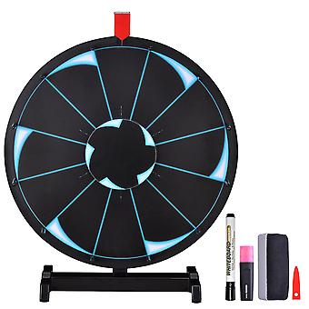 """WinSpin® 18"""" Tabletop Editable Prize Wheel 12 Slot Spinning Game with Dry Erase Tradeshow Carnival Black"""