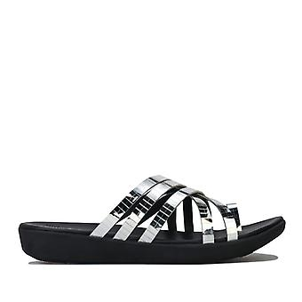 Women's Fit Flop Lola Mirror Strap Toe Post Sandals in Silver