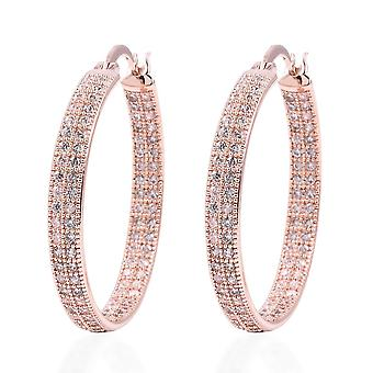 TJC Simulated White Diamond Hoop Earrings in Rose Gold Plated for Women